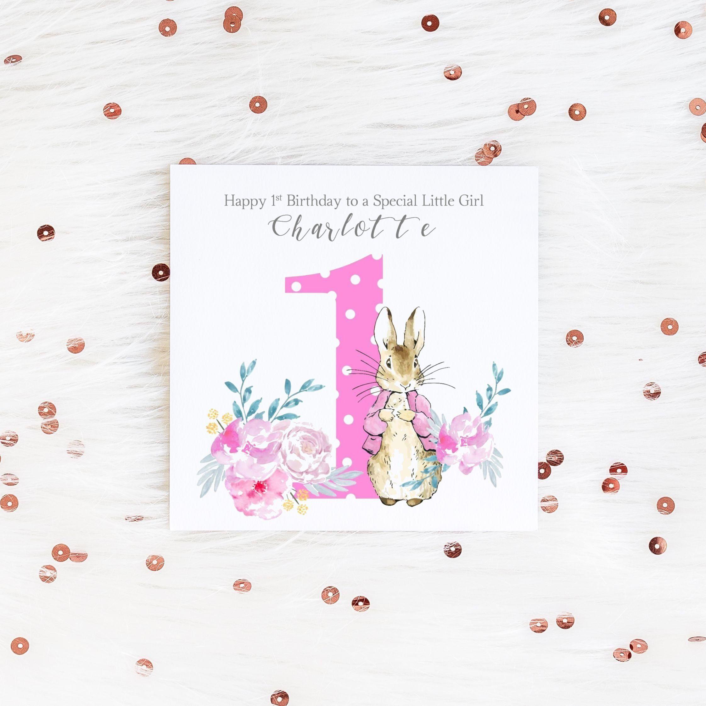 Personalised 1st Birthday Card Peter Rabbit Girls Birthday Etsy 1st Birthday Cards Girl Birthday Cards First Birthday Cards
