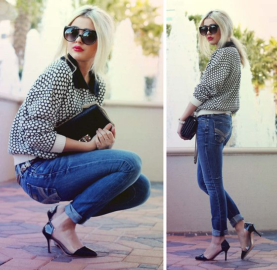 Retro City Pyro Sunglasses, Romwe Spotted Petal Collar Sweater, Seven For All Mankind Gwenevere Jeans, Valentino Rockstud Clutch, Transparent Pumps