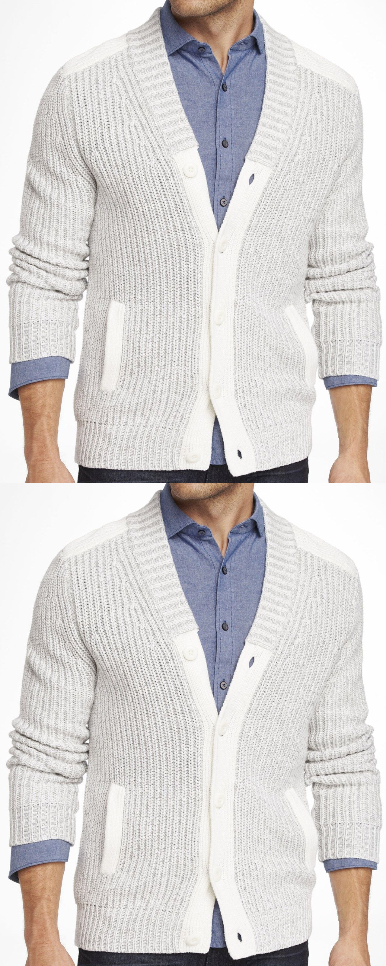 Sweaters 11484: New Express Men S Plaited Cotton Chunky Cardigan ...