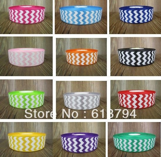 """60yd 1.5""""40mm WHITE CHEVRON printed and 12 colors grosgrain ribbon for hair bow-in Ribbons from Apparel & Accessories on Aliexpress.com $33.00"""