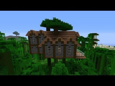 How To Build A Jungle Tree House Mansion In Minecraft Youtube