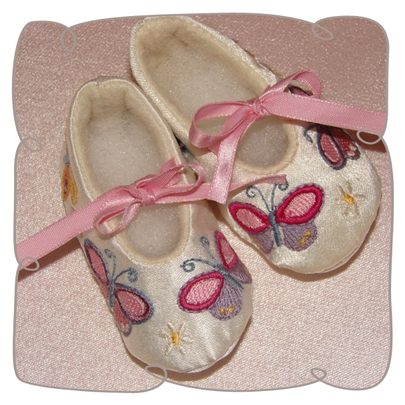 Butterfly Baby Booties for Machine embroidery design