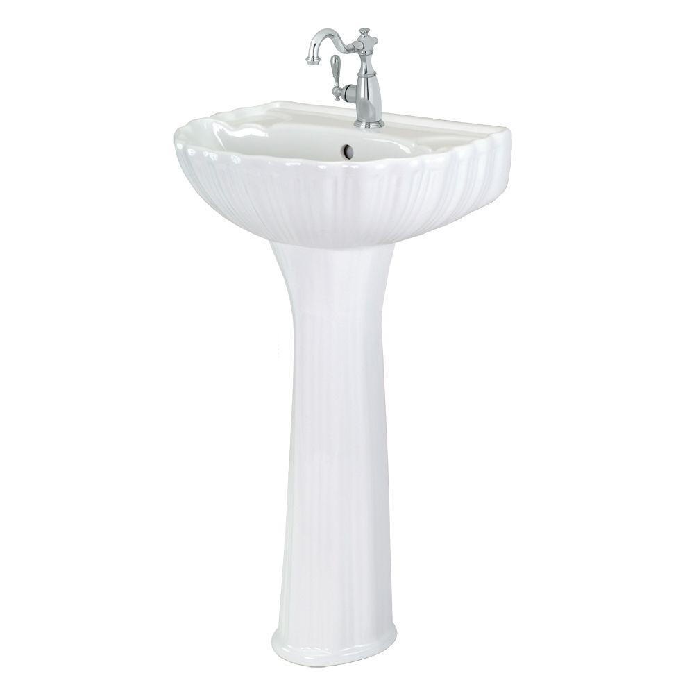 Foremost Brielle Pedestal Combo Bathroom Sink In White Fl 08a W