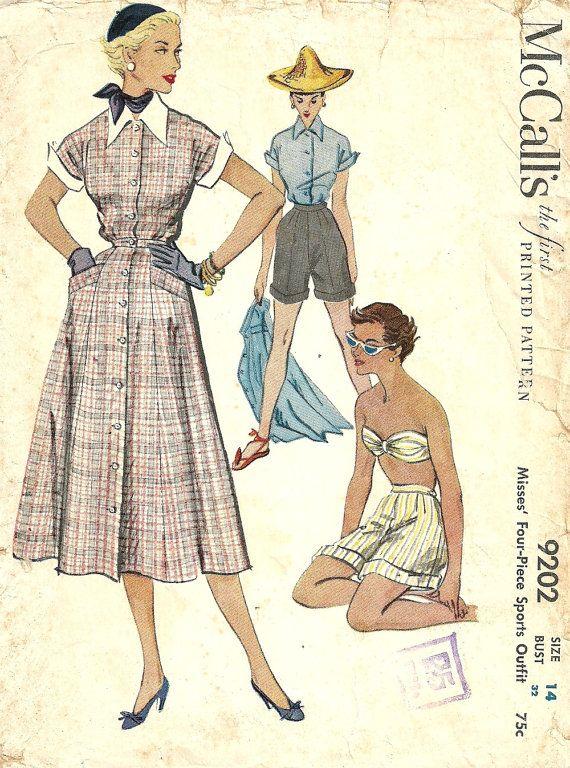 McCalls 9202 // Vintage 50s Sewing Pattern // Skirt Blouse Bra ...