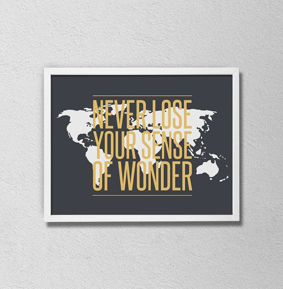 World map travel quote poster wanderlust art never lose your sense world map travel quote poster wanderlust art never lose your sense of wonder world map art gray and gold travel poster gumiabroncs Images