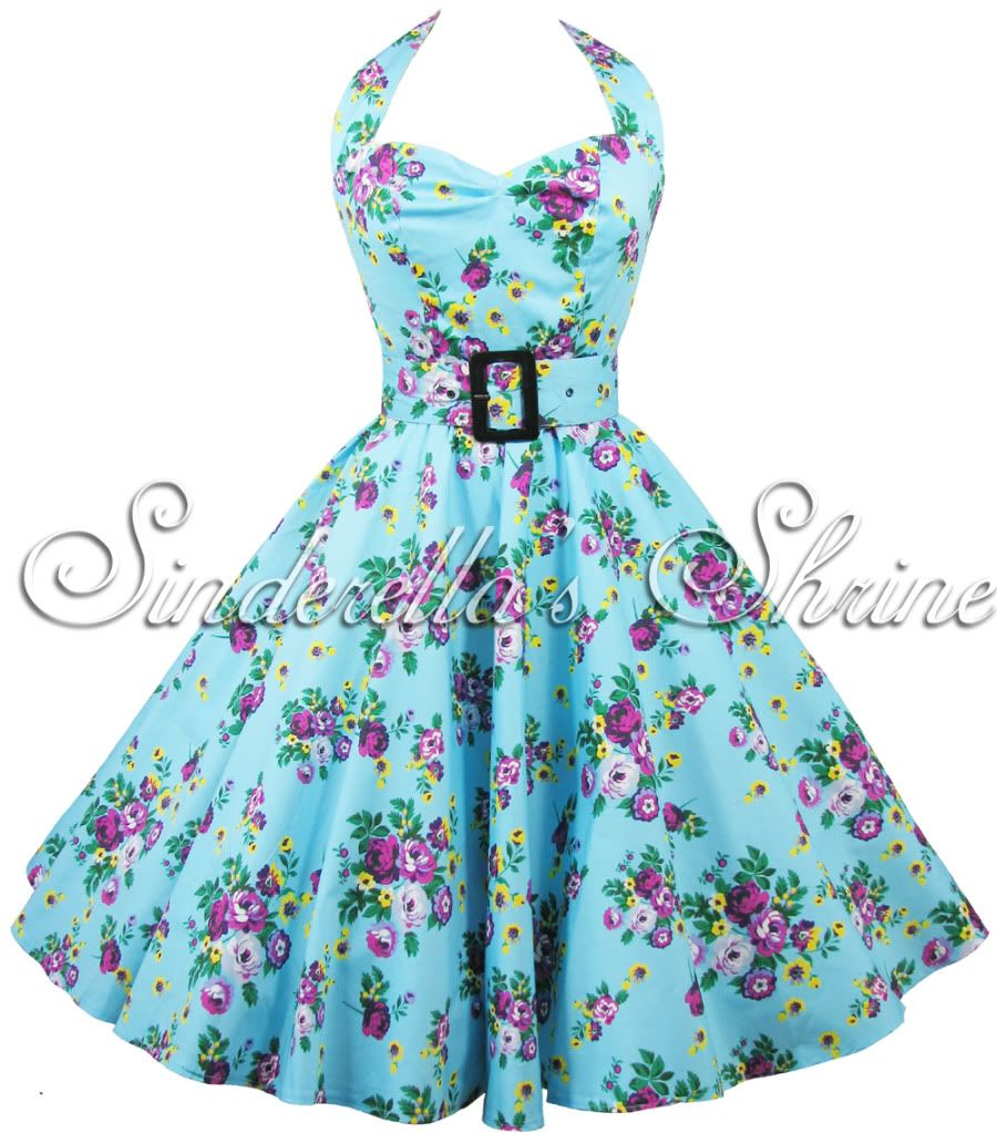 Hell Bunny Blue ~May Day~ Floral 1950s Party Dress 6-18 | 1950s ...