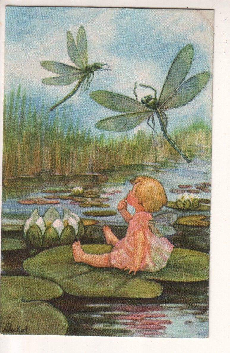 Détails Sur H Dockal Baby Fairy With Dragonflies And Lily