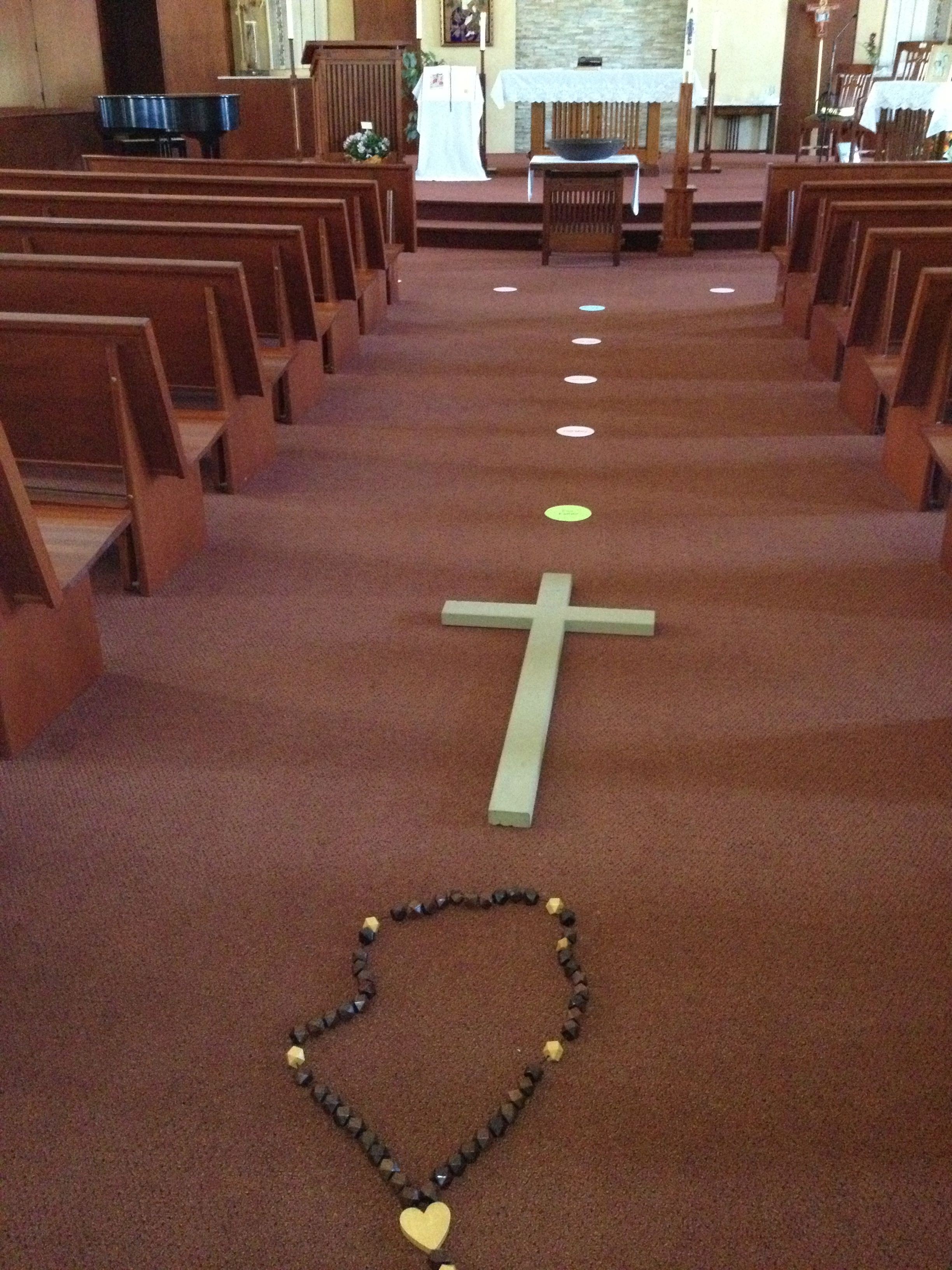 """Our Living Rosary. We set up """"beads"""" in church, one for"""