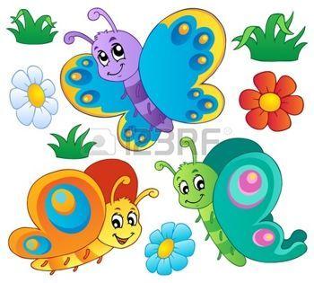 Flores Y Mariposas Caricatura Imagenes De Archivo Vectores Flores Y Maripos Como Dibujar Mariposas Dibujos De Mariposas Infantiles Flores De Dibujos Animados