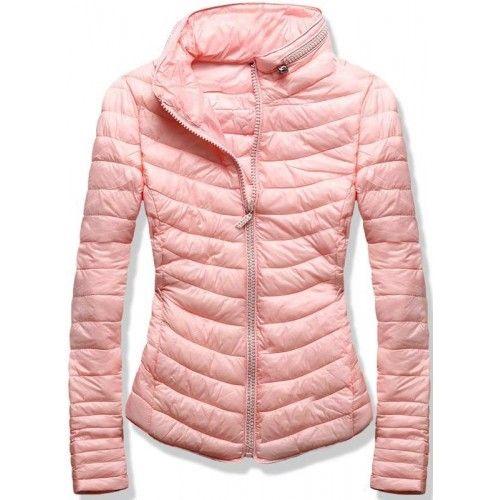 Dámská jarní podzimní bunda Zeria růžová – růžová – skvělá prošívaná bunda  vhodná do přechodného období – zapínání na zip – na zipu a na límci se  nachází ... 7e3bb2d32b