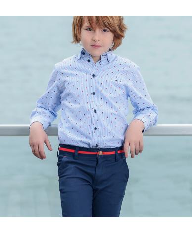 82d8b1a8a Conjunto marinero para niños desde 2 años hasta 8 años. Camisa azul a  rallas con