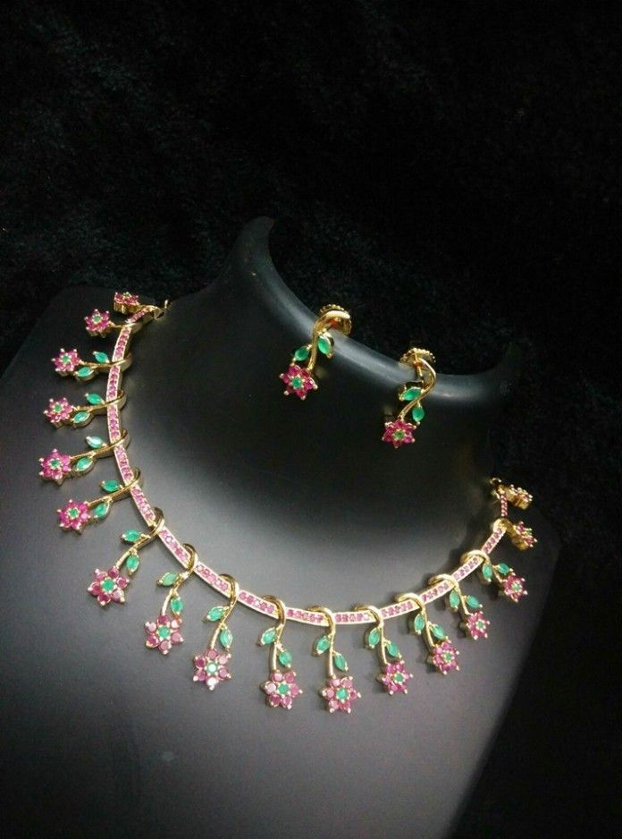Colorful Imitation Stone Necklace From Rs Designs Gold Jewellery