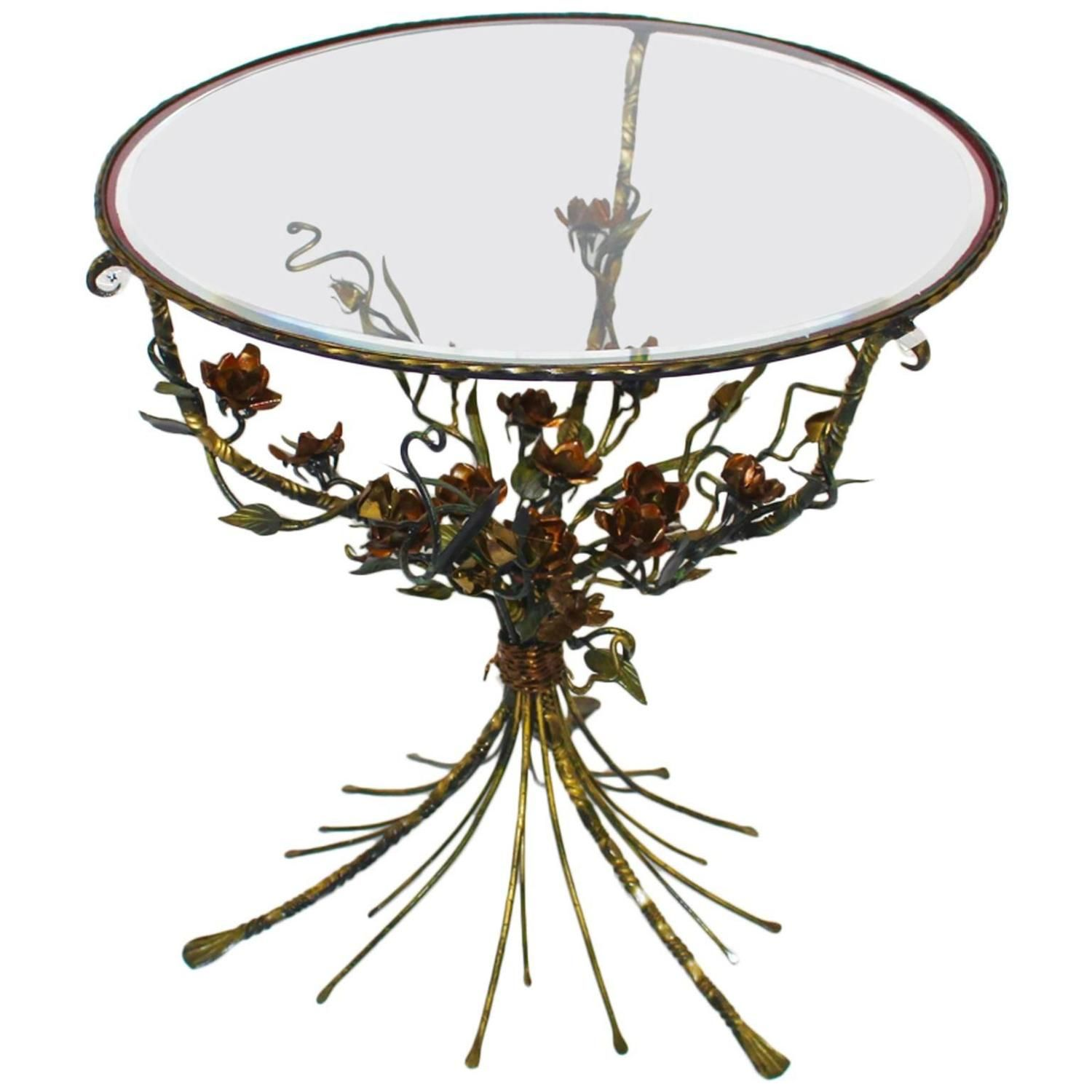 Hollywood Regency Style Metal Flower Coffee Table, 1950s | From a unique collection of antique and modern coffee and cocktail tables at https://www.1stdibs.com/furniture/tables/coffee-tables-cocktail-tables/