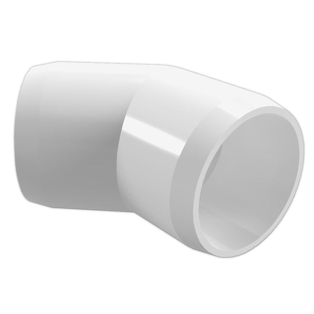 Formufit 1 1 2 In Furniture Grade Pvc 45 Degree Elbow In White 4 Pack F11245e Wh 4 Furniture Grade Pvc Pvc Fittings Pvc Elbow