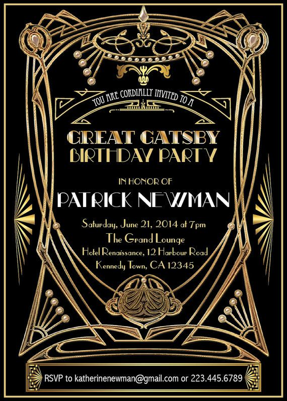 Great Gatsby birthday Invitation Adult by ThePaperWingCreation