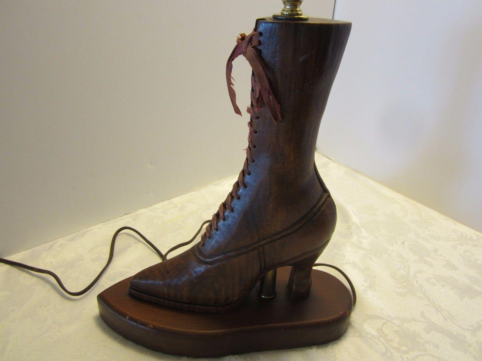 Antique Victorian Wood Carved Boot Shoe Table Lamp Folk Art Silk Laces Vintage Ebay Antiques Boots Antique Lamps