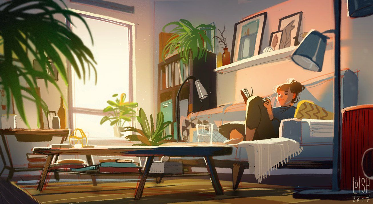 Loish On Twitter Living Room Background Environment Concept Art Environmental Art