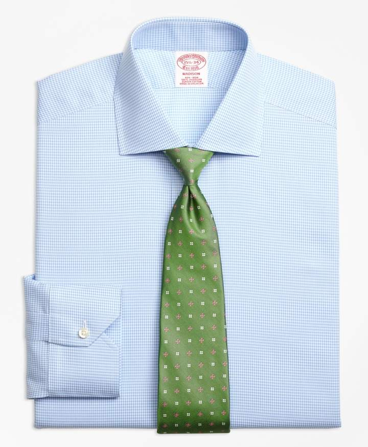 05a31259 Brooks Brothers Madison Classic-Fit Dress Shirt, Non-Iron Royal Oxford  Houndstooth