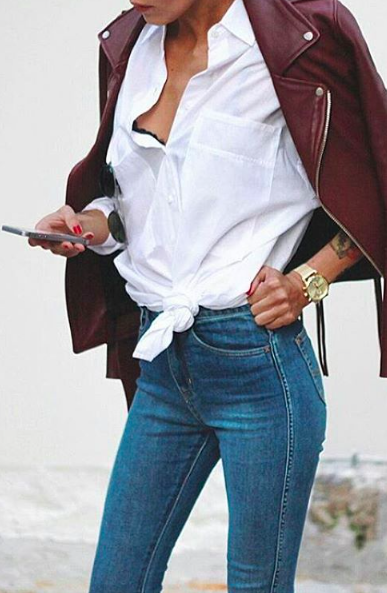 burgundy leather + white + denim
