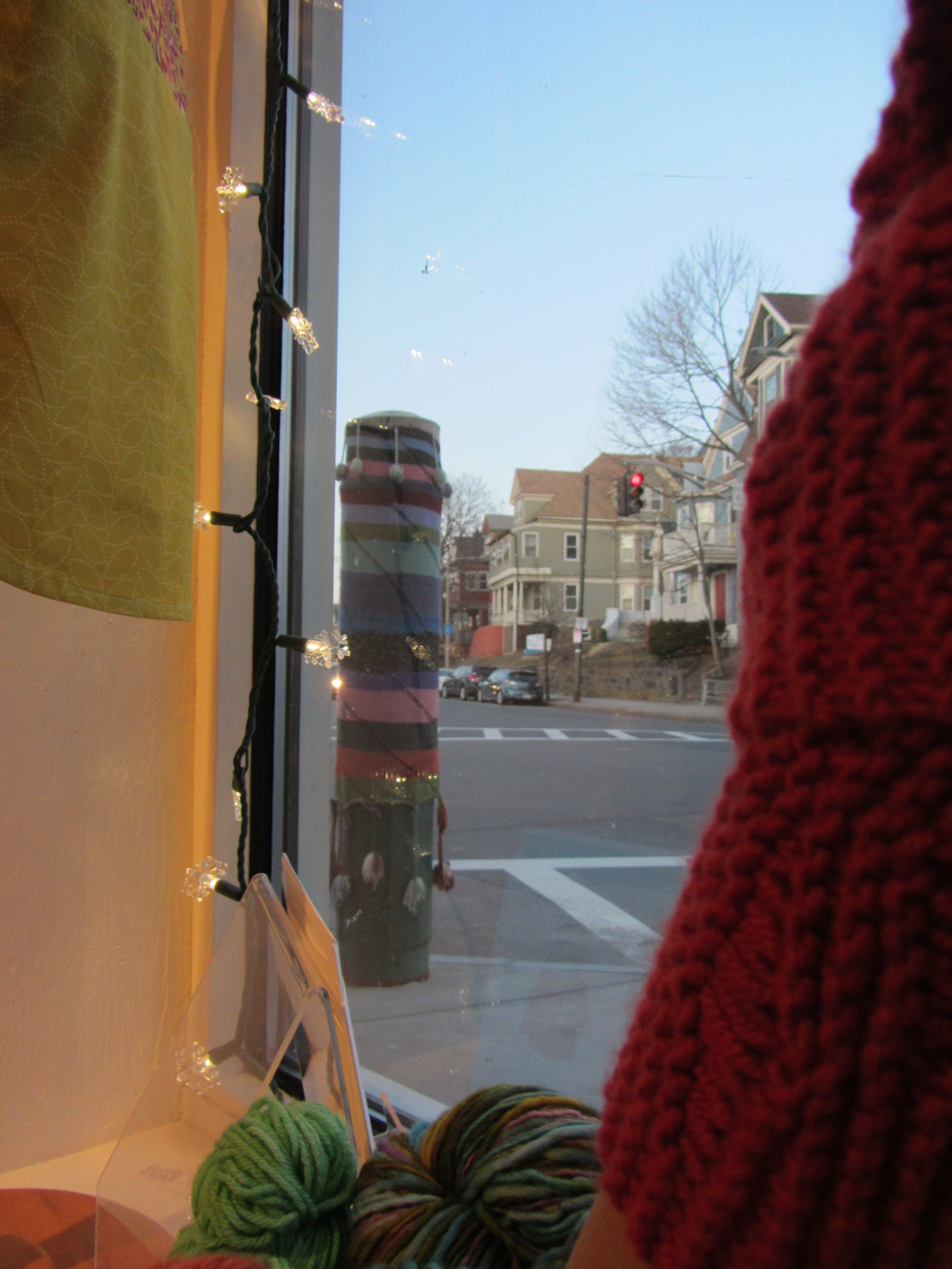 Knitting window decoration. The photo comes from the best knitting store of Boston, in JP.