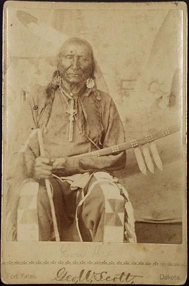 Long Dog (Sunka Hanske) was an Hunkpapa. At the time of his transfer to the Standing Rock Agency in 1881, he was 60 years old [born c1821], a widow, living with his son Black Prairie Dog. He was in Crow King's band (Hunkpapa). — Ephriam Dickson