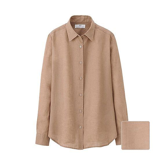 WOMEN Premium Linen Long Sleeve Shirt - Beige