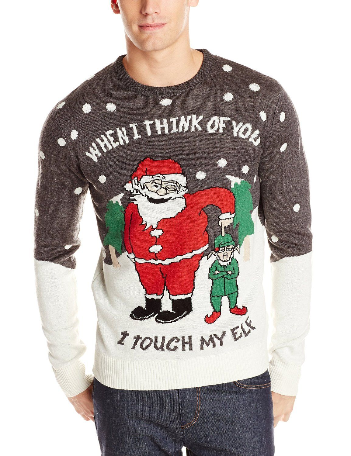 3 Santas Mens Touch My Elf Ugly Christmas Sweater At Amazon Mens