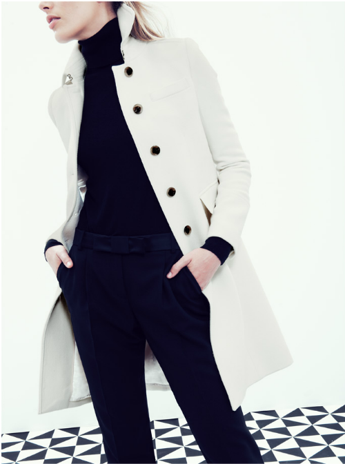 Fall / winter - business casual - work outfit - black turtleneck top + black pants + white coat