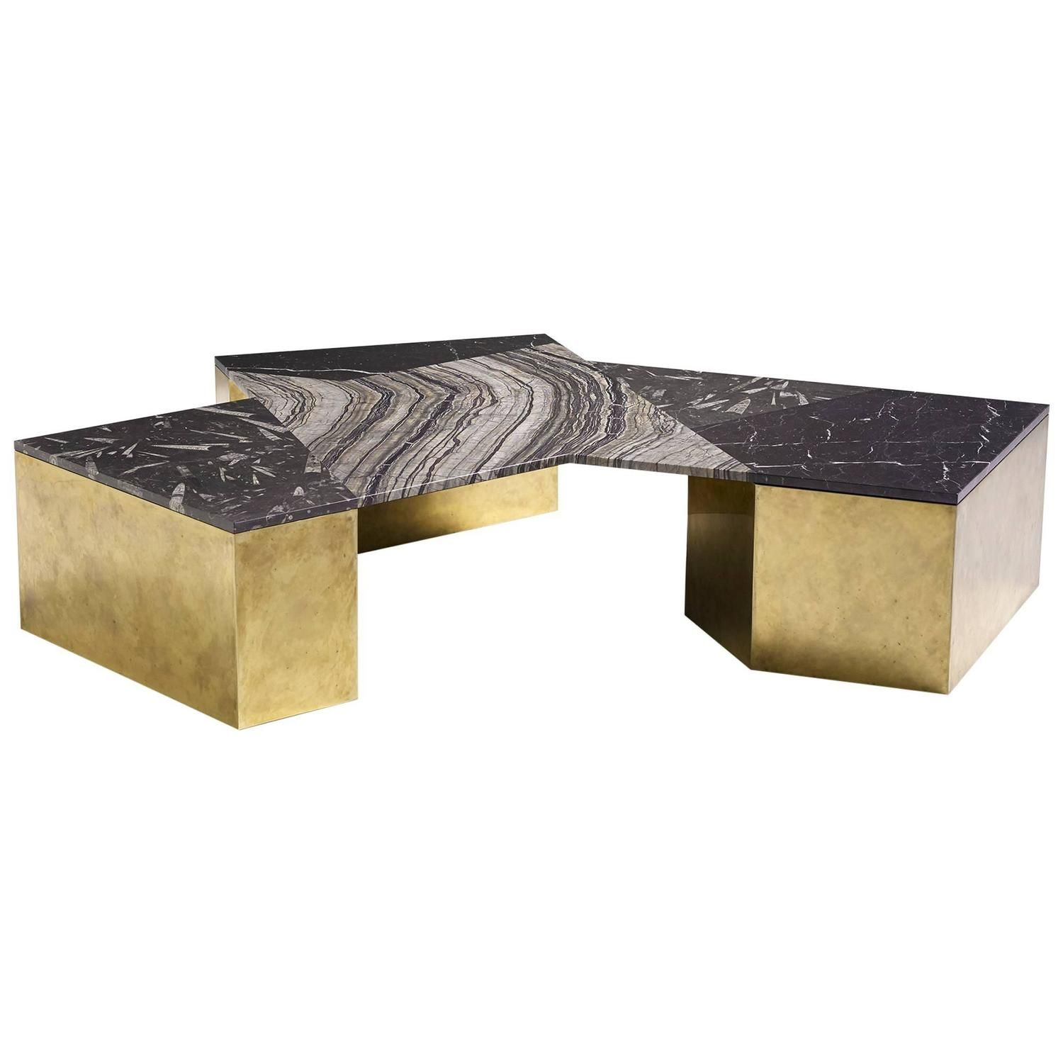 Brian Thoreen Black Mixed Marble and Brass Coffee Table | Mesas