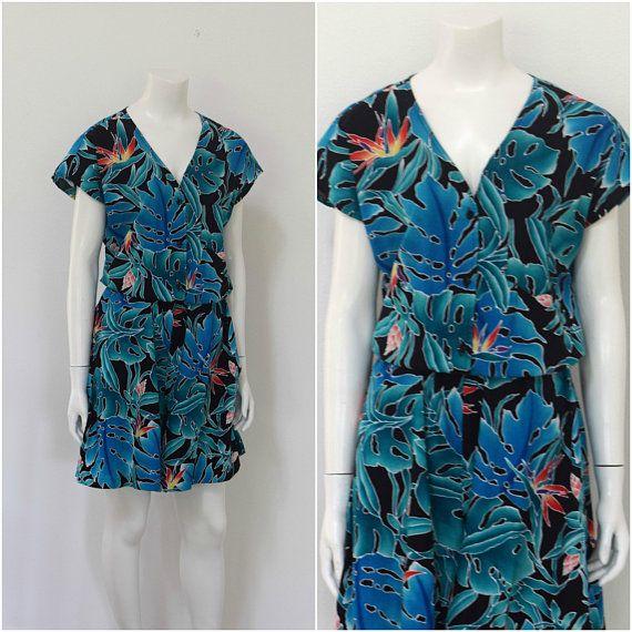 7ef643d7423b1 Vintage Hilo Hattie Romper/ Blue Hawaiian Playsuit/ 80s Hawaiian Shorts  Set/ Womens Size Medium Larg