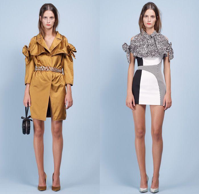 Paule Ka 2014 Spring Summer Womens Lookbook Presentation - Paris Fashion Week - Mode à Paris - Bow Sleeves Ruffles Flowers Print Crop Top Ca...