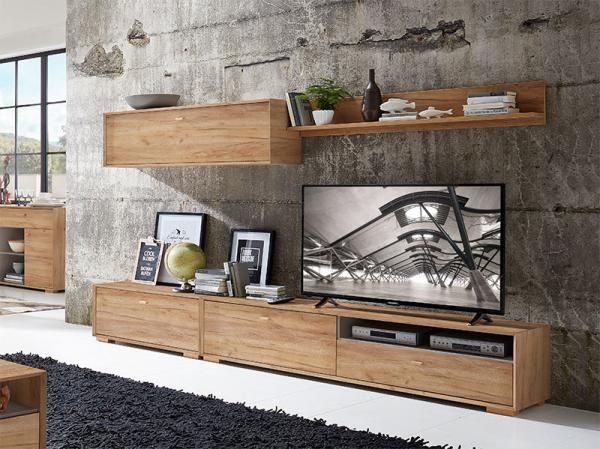 Contemporary TV Wall Storage System In Choice Of Oak Effect, White Pine  Effect Or Matt