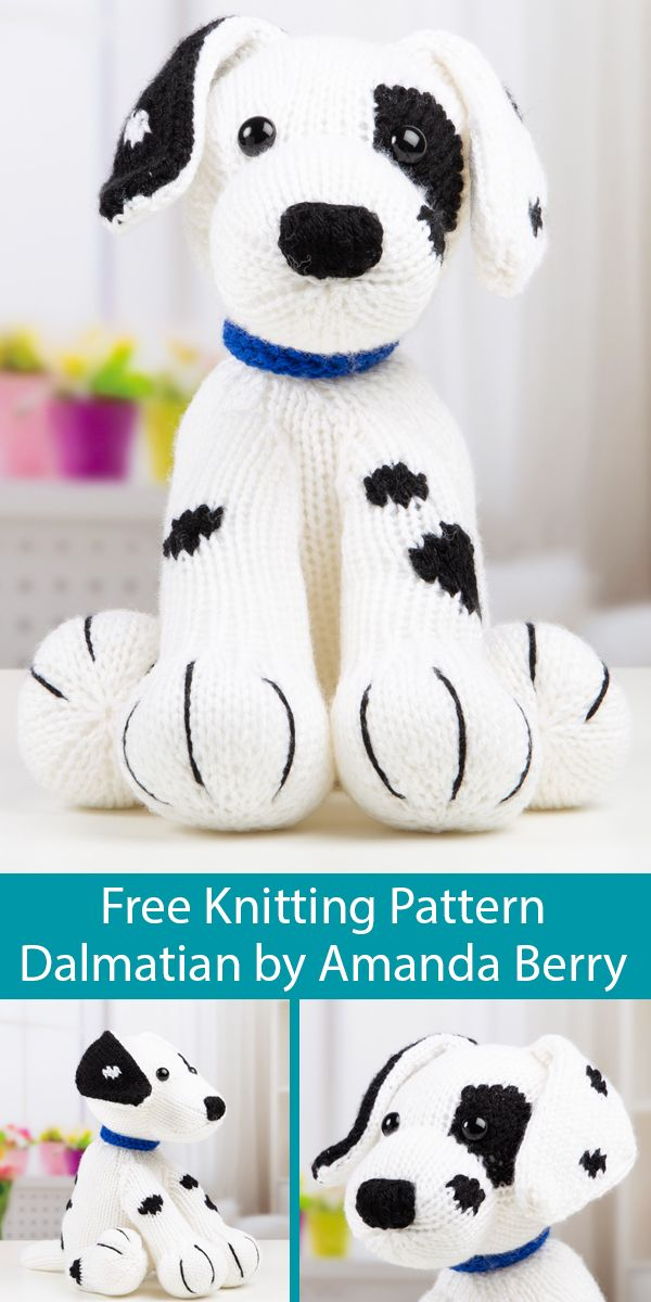 Free Knitting Pattern for Dalmatian Toy Dog. Kit available for $12
