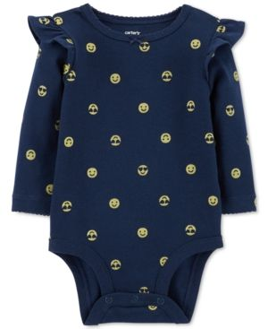 339ad0fb03e3c Carter s Baby Girls Emoji-Print Cotton Bodysuit - Blue 3 months ...