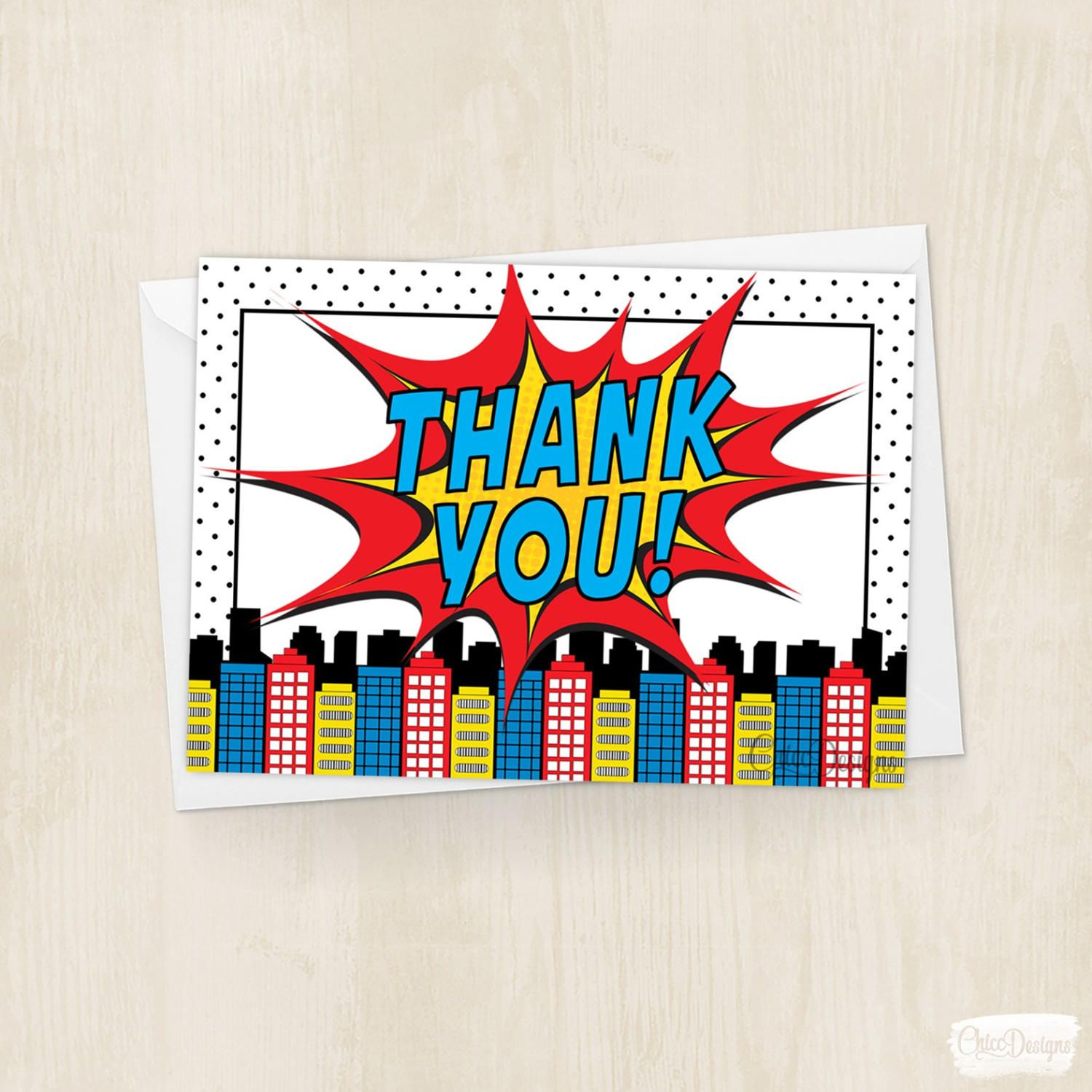 Superhero Thank You Card - Bubbles - Comic - Superhero Comic - Super Power - Birthday - Skyline - Thank You Card - Instant Download by ChiccDesigns on Etsy