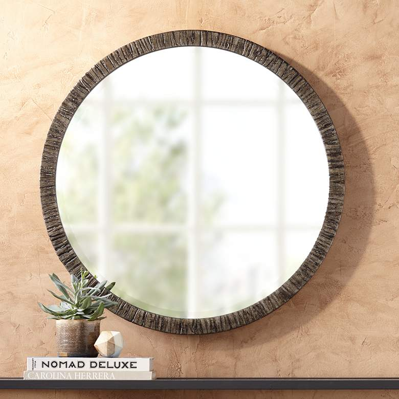 Uttermost Bili 34 Round Antique Silver Leaf Mirror 72k43