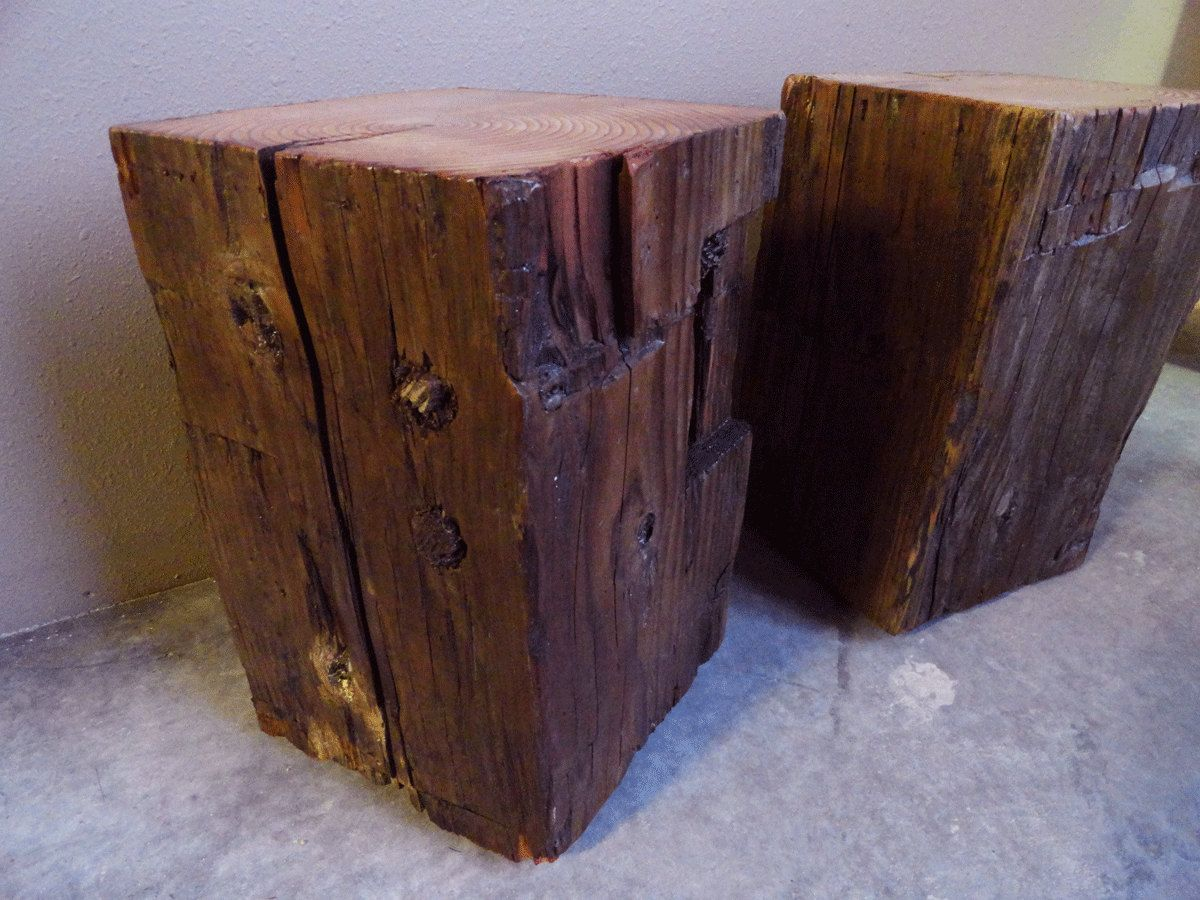 Hand Hewn antique timber square side tables. $95.00, via Etsy.  Coffee table idea- wood base with a glass top, cut to size