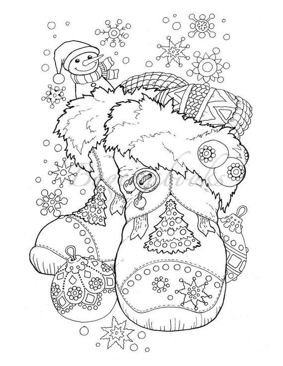 Nice Little Town Christmas (Adult Coloring Book, Printable