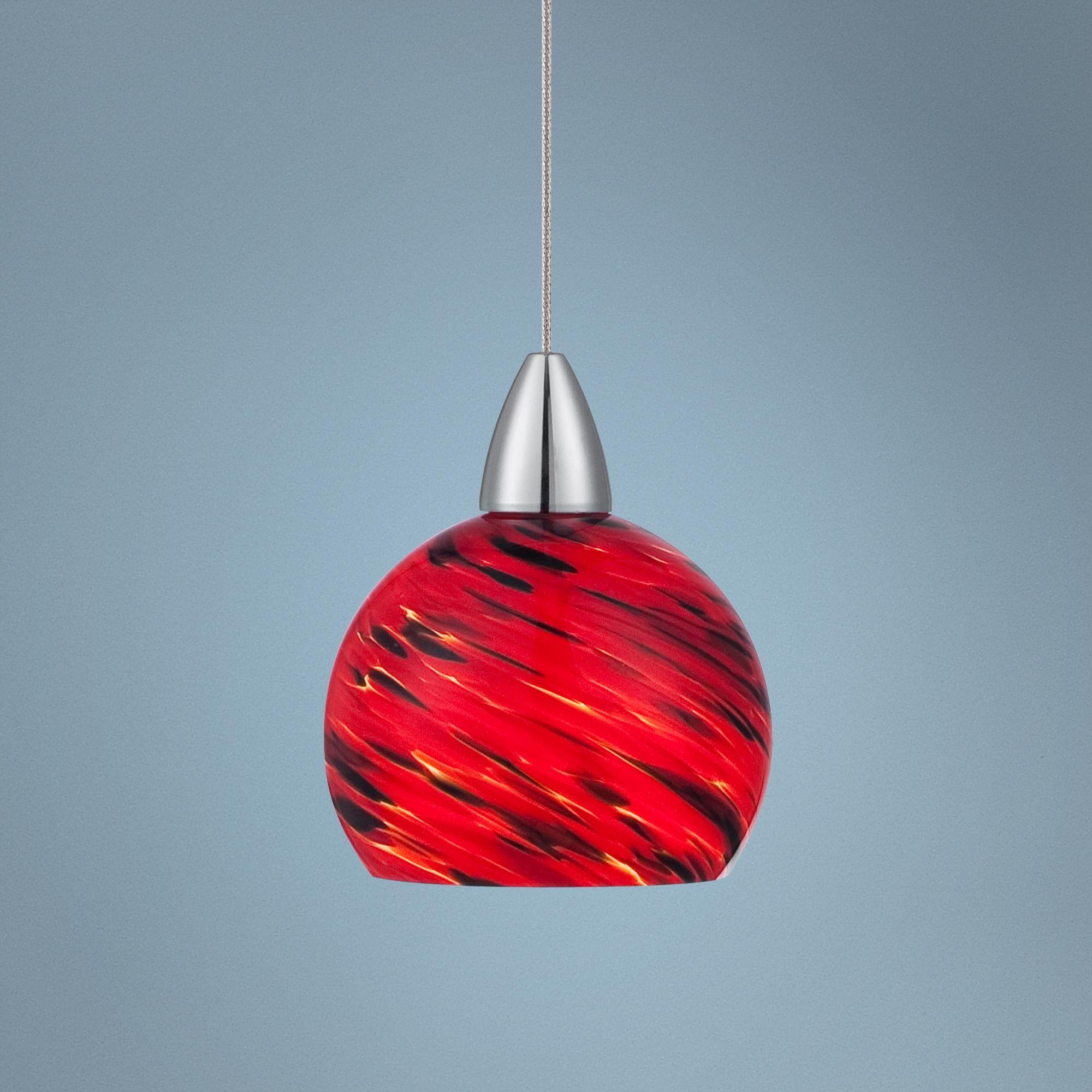 Possini Euro Arata Red Art Glass Led Mini Pendant Light Y1734 Lamps Plus Mini Pendant Lights Red Pendant Light Pendant Light