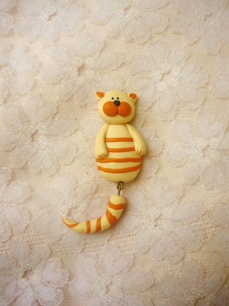 Brooches – Striped Cat Handmade Brooch – a unique product by nahoot6 on DaWanda