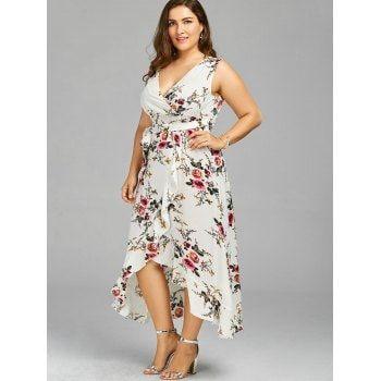 Plus Size Tiny Floral Overlap Flounced Flowy Beach Dress - WHITE 2XL ...