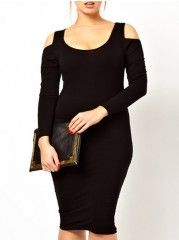 Off Shoulder  Plain Plus Size Bodycon Dress