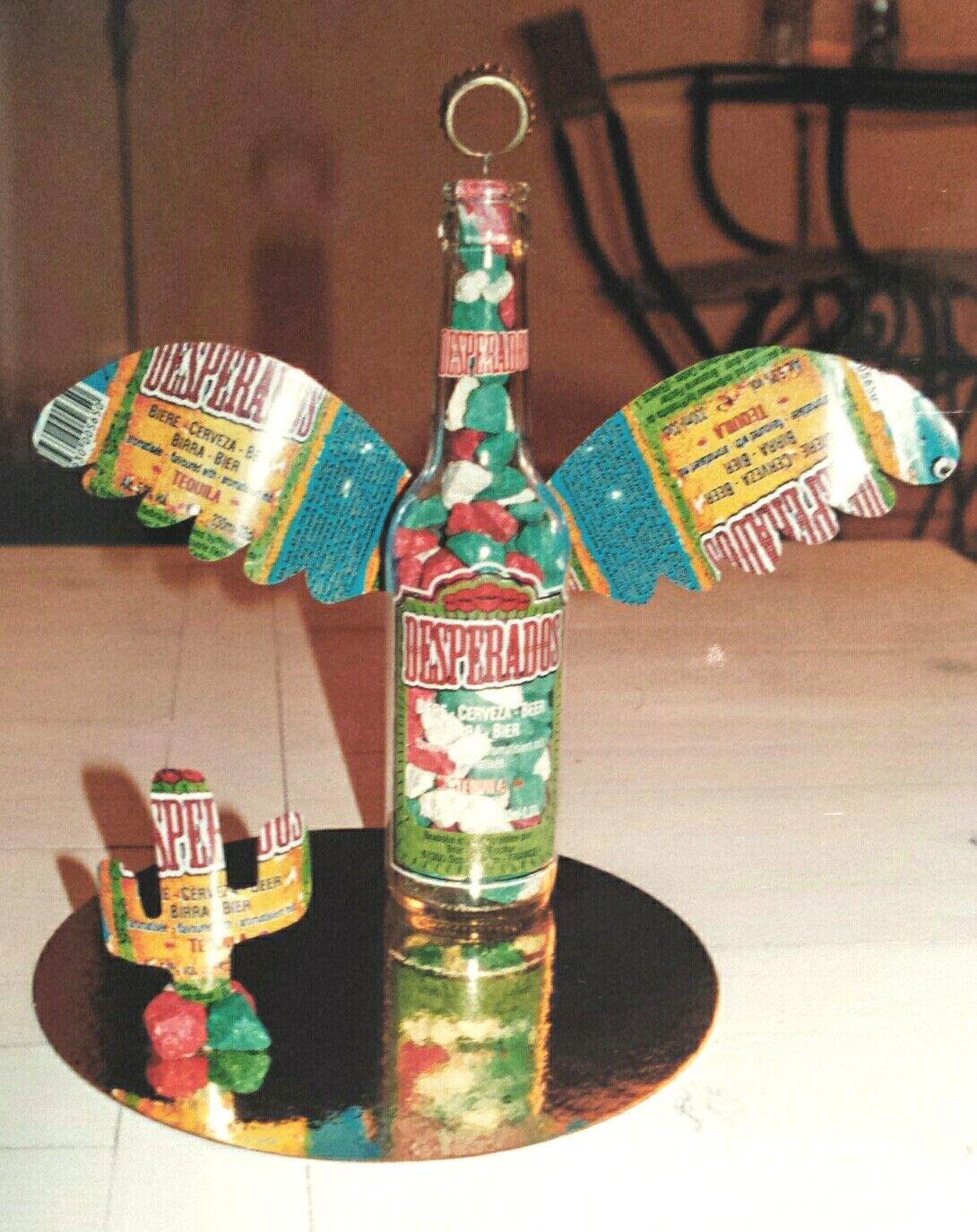 Diy Desperados Bouteille De Biere Et Canette Cailloux Colores Cactus Et Ange