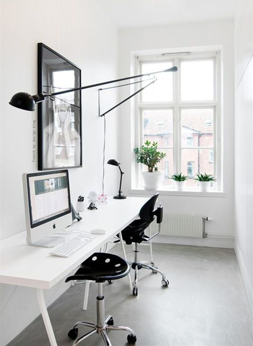 Super Sleek Black And White Minimalist Work Space