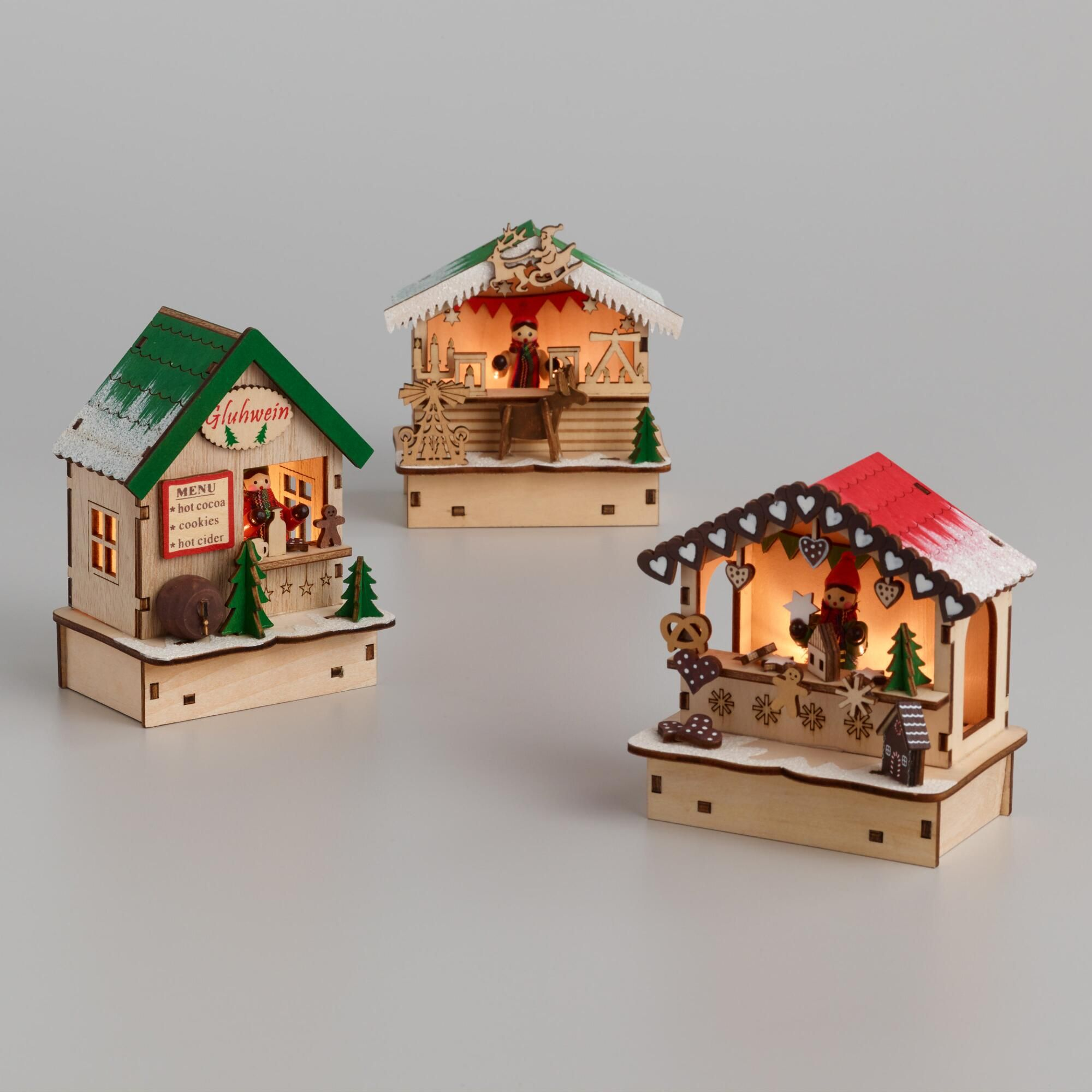 1 x Glowing Christmas Wooden Timber House Lantern Decoration Hanging Ornament