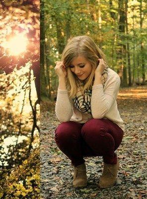 plum / burgundy skinnies, cream colored sweater, and ...