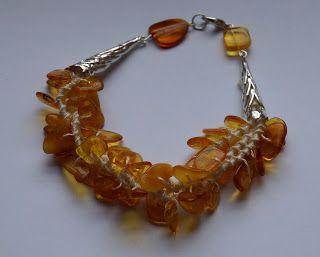 Tatted amber - like bracelet