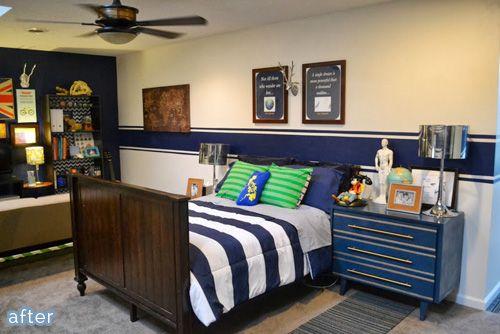 Tween Boy Bedroom Makeover Love This Navy Stripe For Wyatt S Room