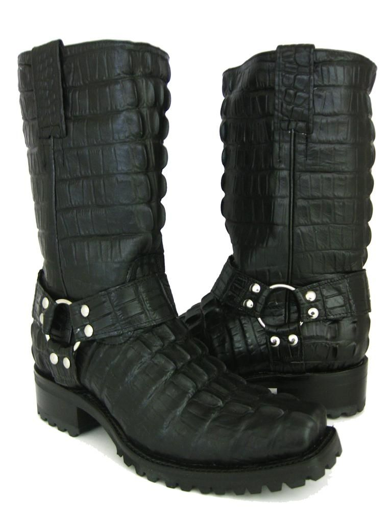 Details about New Men's Black Crocodile Alligator Full Biker Boots ...