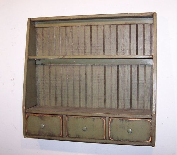 Primitive Plate Rack with 3 Drawers and Beadboard Back - Color Choice - FREE SHIPPING & Primitive Plate Rack with 3 Drawers and Beadboard Back - Color ...